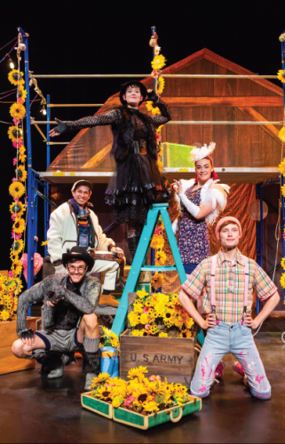 Various characters dressed in human representations of farm animals. They are centered around a ladder and posing inside a barn
