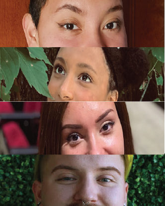 Four pairs of eyes of students featured in the blog.