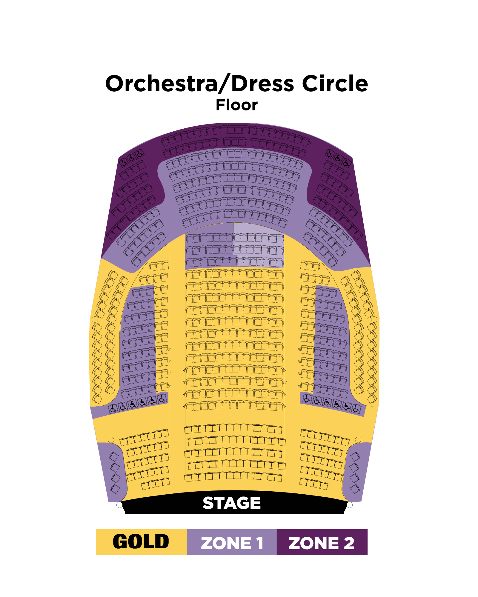 Orchestra/Dress Circle Seating Map