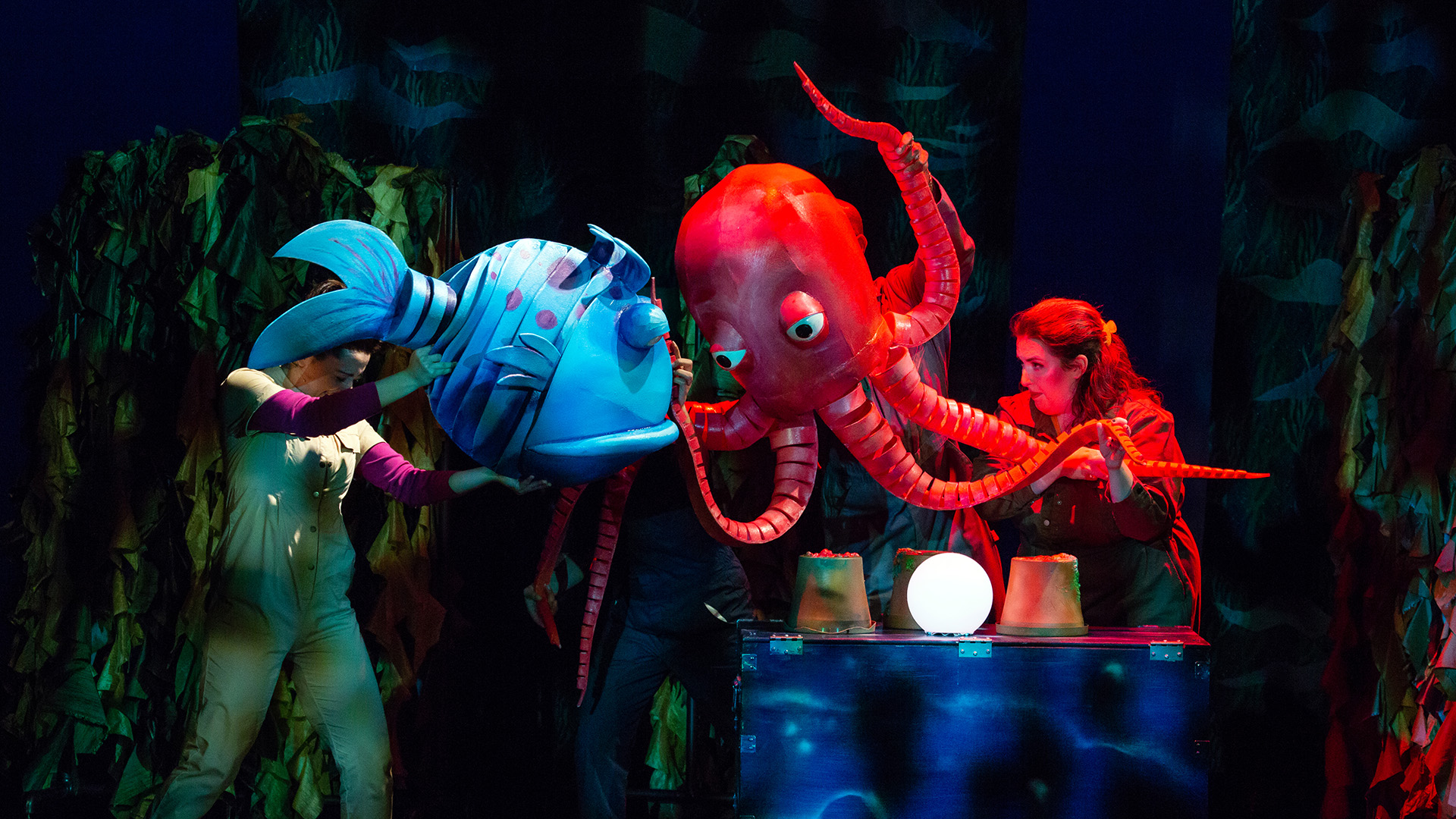 Fish puppets go to head to head with humans steering them.