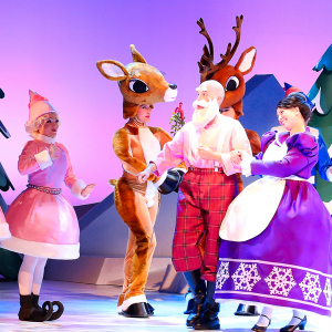 Santa on stage surrounded by elves and reindeer.