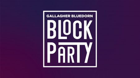 White text that reads Gallagher Bluedorn Block Party on a purple gradient