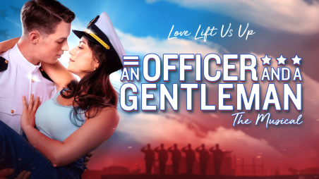 White text reads An Officer and a Gentleman. Man and woman in a loving embrace.
