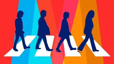 Graphic of four shadow figures representing the Beatles walking in a line. Orange and blue lights shine down on them.