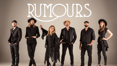 Rumours in white text with members of the tribute band in all black