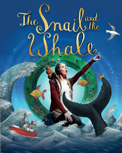Someone wearing a snail costume points off to the side. The person is in a sea background with a ship and a whale.